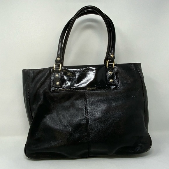 Kate Spade Black Leather Tote with Patent Leather